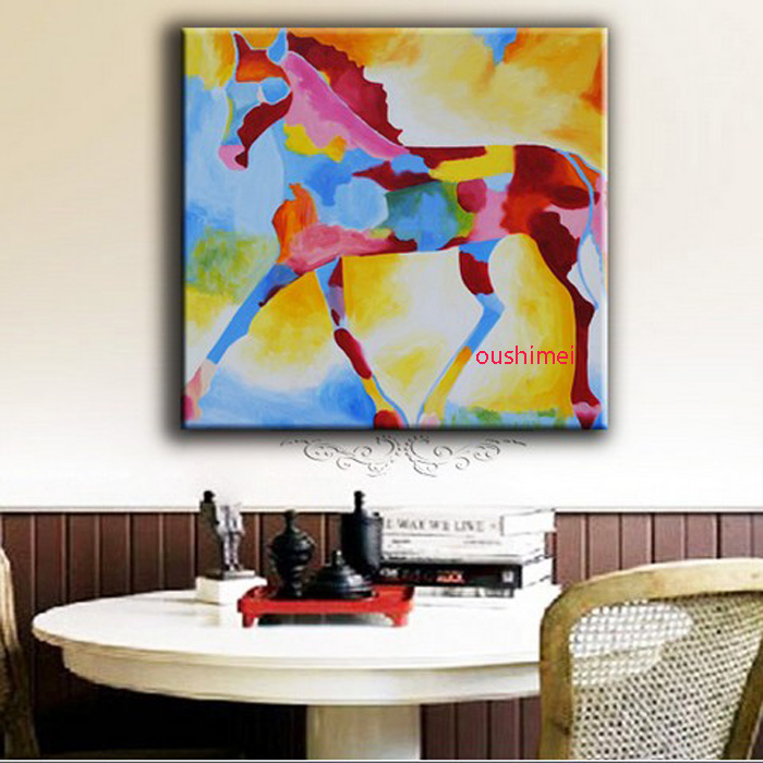 Handmade Oil Painting Colourful Horse Paintings Abstract Animal Rhaliexpress: Horse Paintings For Living Room At Home Improvement Advice