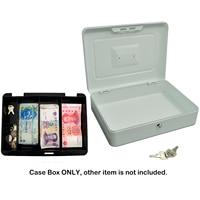 Behogar 12 inch Portable Metal Lockable Cash Coin Money Storage Security Box Holder Suitcase Lock Key 5 Compartment Tray