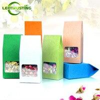 Leotrusting 80 × 155ミリメートル折りたたみ色クラフト紙ウィンドウボックスクラフト紙ギフト包装ボックスパーティークリスマスプレゼント包装バッグボックス