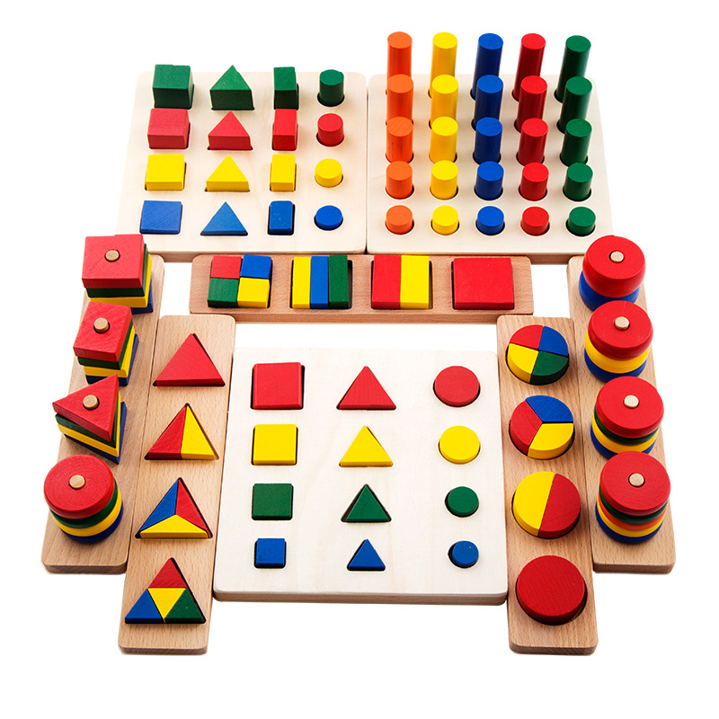 8 In 1Set Toddlers Montessori Materials Teaching Toy Geometric Shape Blocks Learning Sensory Toys Wooden Toys