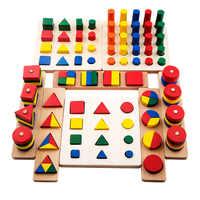 8 In 1 Satz Kleinkinder Montessori Materialien Lehre Geometrische Form Blöcke Lernen Sensorischen Spielzeug Holzspielzeug Baby Spielzeug Bildung