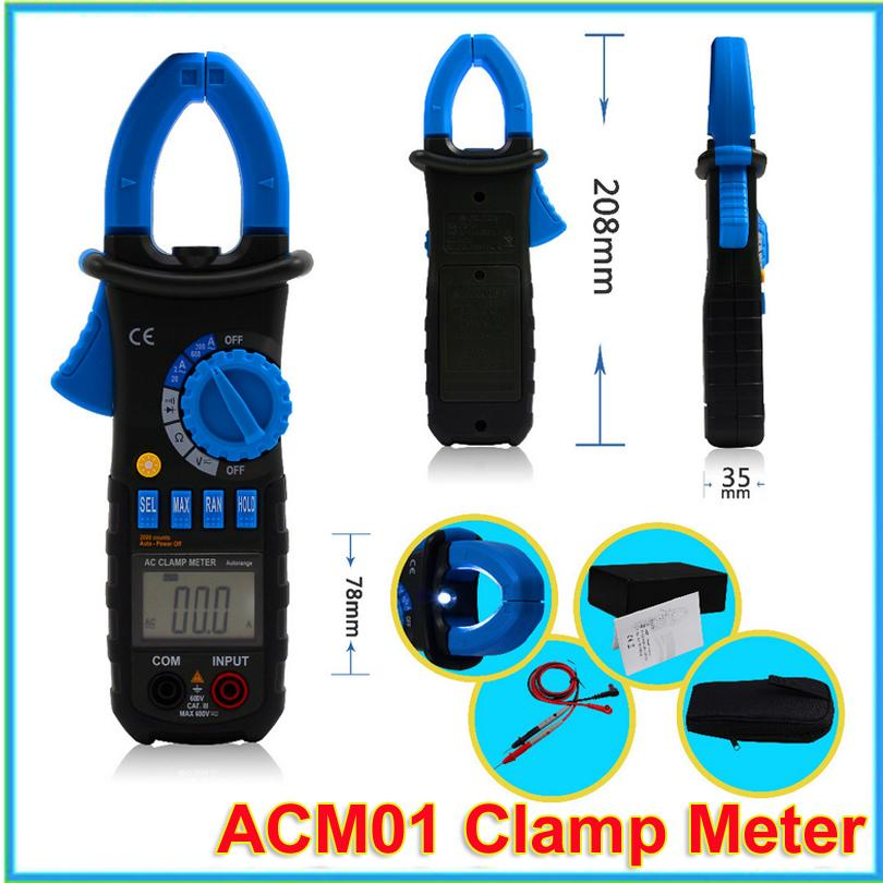 1pcs BSIDE ACM01 Digital AC Present Clamp Meter Counts Multimeter AC DC Voltage Resistance Meter Tester VS MS2008A