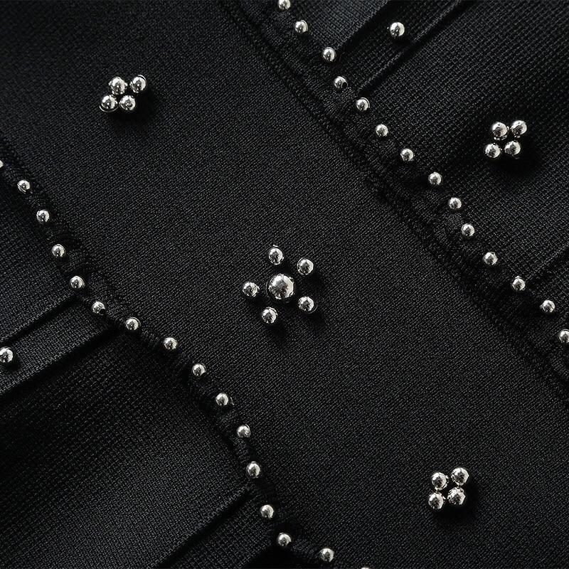 Sexy Mini Haute Été Élégant Robe Grâce Et Noir 2019 Printemps Gloria Tricoté Xl Dos Perles Nu Couture gnqzHz