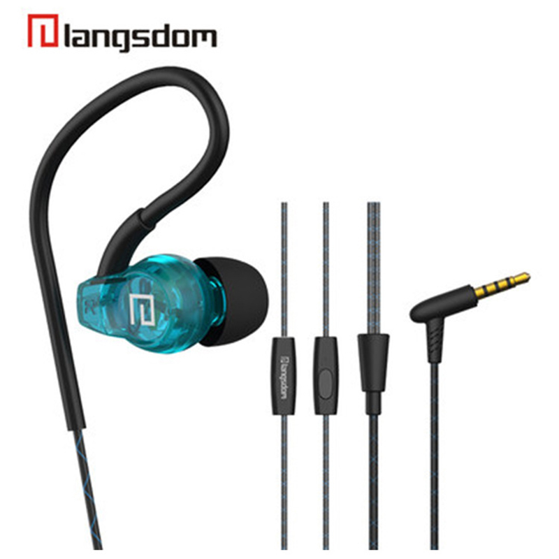 Langsdom SP80A Sport Earphone Super Bass Stereo headsets Sweat-proof in ear earphone earbuds with microphone for mobile phone