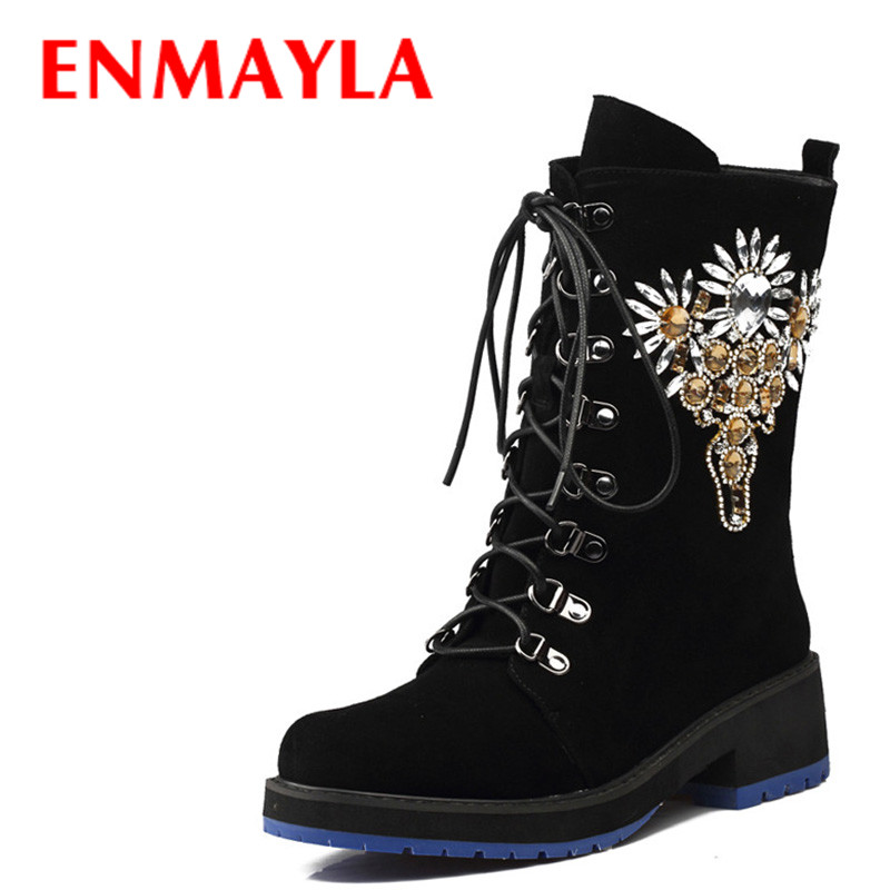 ENMAYLA Women Retro Style Crystal Lace-up Half Boots Women Black Suede Round Toe Flats Boots Shoes Rhinestone Shoes WomanENMAYLA Women Retro Style Crystal Lace-up Half Boots Women Black Suede Round Toe Flats Boots Shoes Rhinestone Shoes Woman