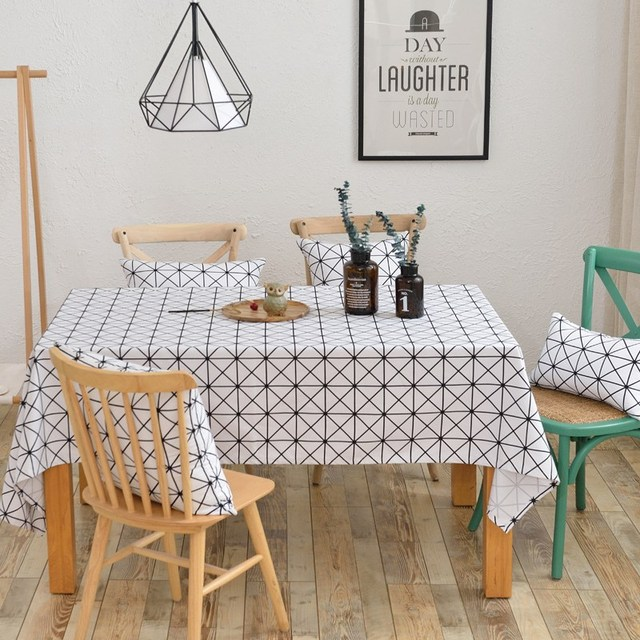 TUTUBIRD Black And White Rectangle Table Cloth 100% Cotton Fabric Tablecloth  Modern Brief Cover Multi