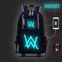 Large Capacity backpack Alan Walker Bag Night Luminous Backpacks USB Charging School Bags Travel Bagpack Canvas Bookbag Rucksack