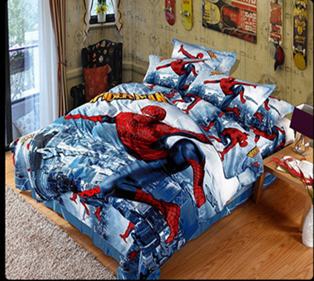 Charming Free Shipping 100% Pure Cotton 3D Spider Man Bedding Sets Full Queen 4PCS  Reactive Printed