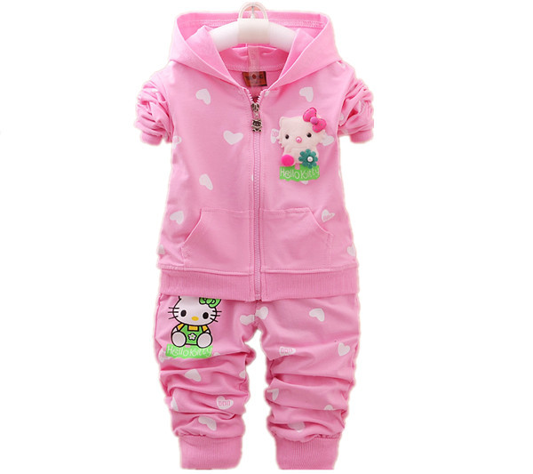 Kids girls clothes sets New 2017 children's Spring clothing sets hello kitty cat fashion baby girls clothing set Hoodies +Pants