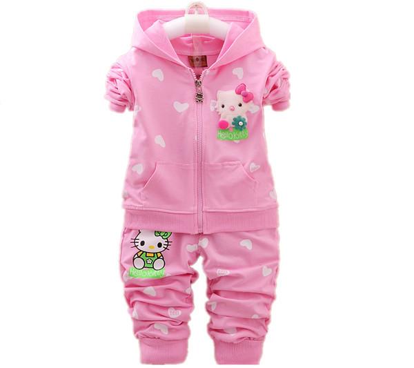 Niños niñas sistemas de la ropa nueva primavera 2017 de los niños que arropan hello kitty cat moda ropa de bebé niñas establece hoodies + pantalones