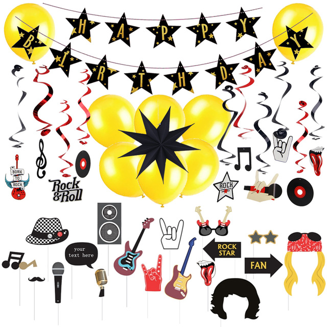 rock star birthday party decoration kit rock n roll photo booth props swirl hanging balloons