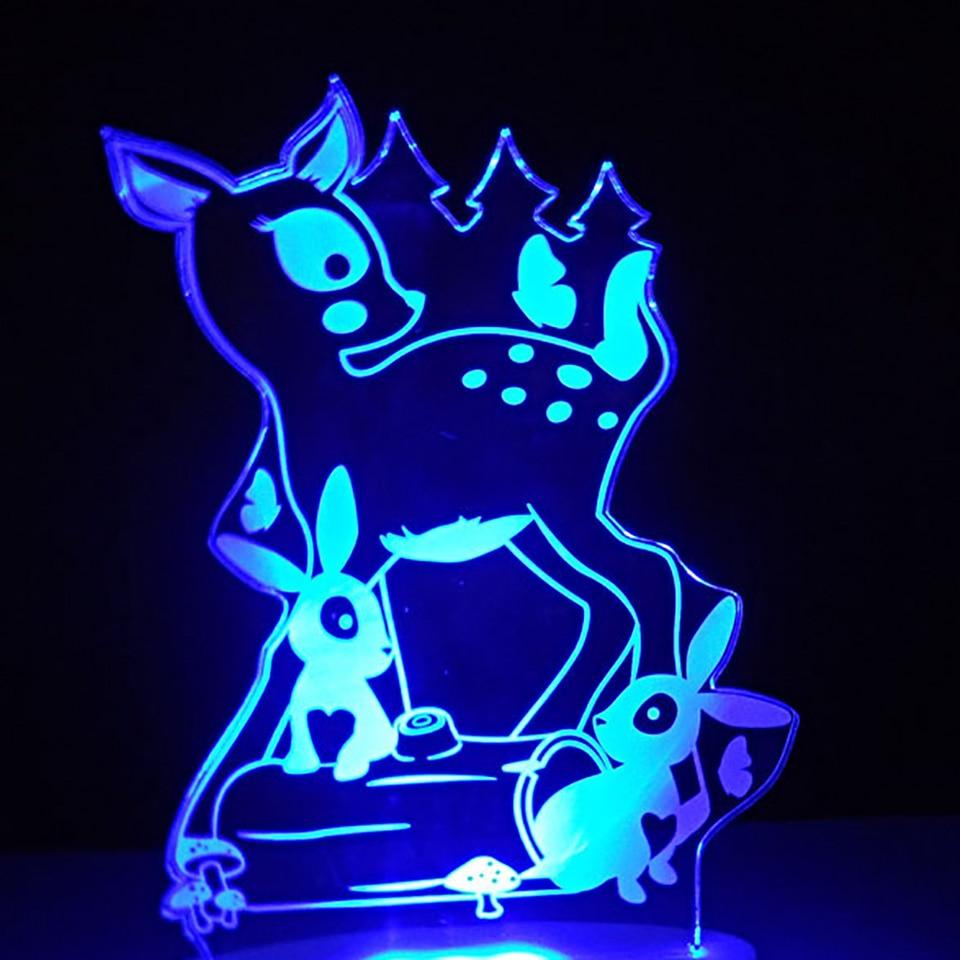 Home Decor Night Light 7 Colors Visual 3D Animal Small Deer Little Rabbit Moulding Desk Lamp Led Bedside Sleep Cartoon Usb Light