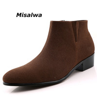 Misalwa Chelsea Suede Boot Men 2019 Sping Sewing Thread Zipper Ankle Boot Men Comfortable Pointed Toe Botas Masculino Motorcycle