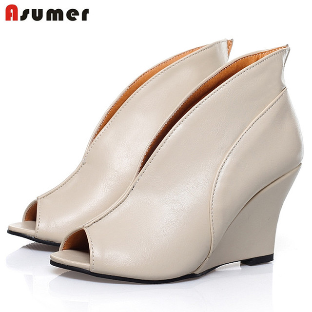 Asumer cuñas más el tamaño 34-43 de la nueva manera bombas peep toe cuero suave de la pu de verano cuña tacones altos sexy zapatos de la señora mujer