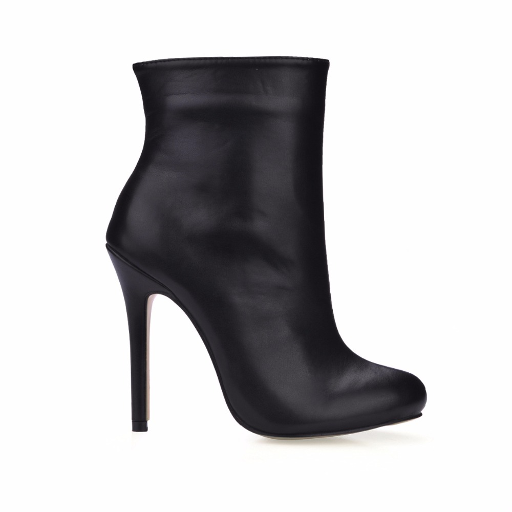 ФОТО 2016 Winter Black Sexy Dress Party Shoes Women Stiletto High Heels Mature Office Ladies Mid-Calf Boots Zapatos Mujer 0640CBT-c1