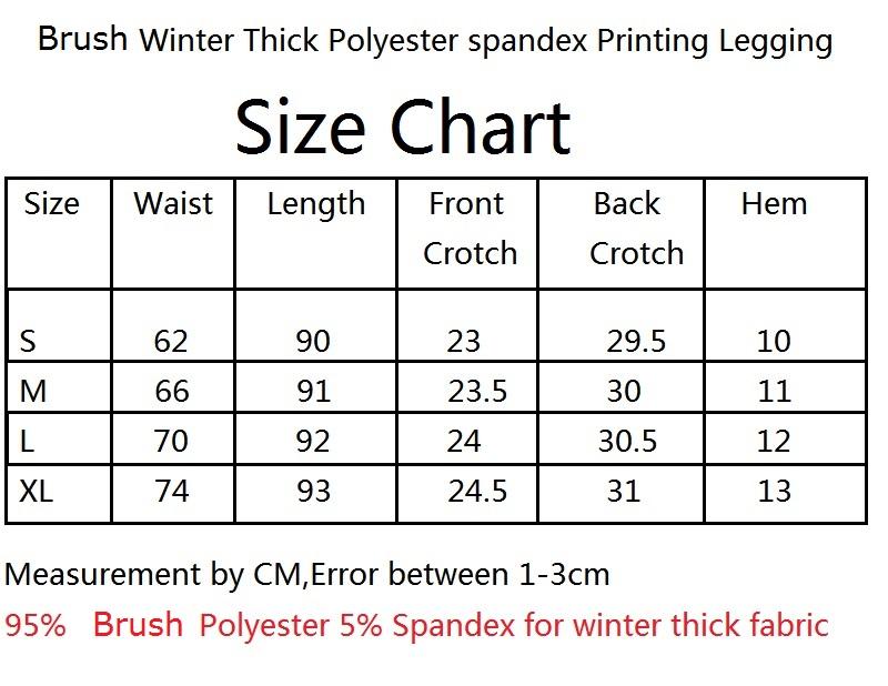 soft brush leggings size chart