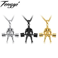 TENGYI Strong Man Stainless Steel Pendant Necklace Personalized Sport Dumbbell Weight Lifting Charm Gym Jewelry Necklace