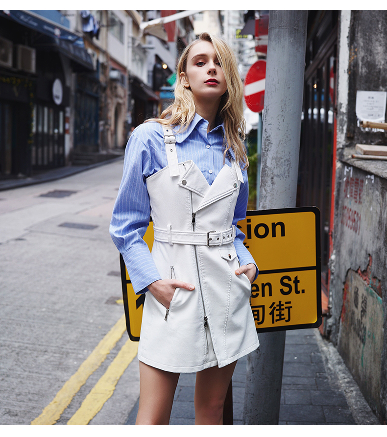 02f80f7629836 US $32.54 7% OFF|Free shipping,fashion street Pu jacket.quality women  leather jacket.style dresses,new brand girl cool bikers A line  dress,sales-in ...