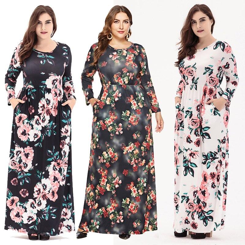 c48f1ee2d48 White Floral Manches Lâche Blue navy Robes Femmes Automne Longue 2019  Nouveau Rob Femme white Desigual Maxi Robe black ...