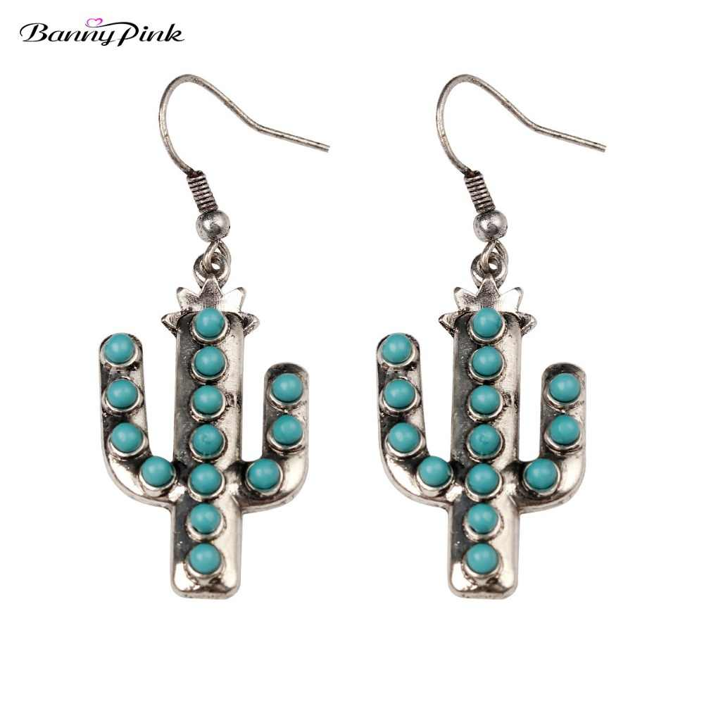 Banny Pink New Hope Cactus Pendant Earrings For Women Bohemia Beads Statement Dangle Earrings Wild Free Alloy Earrings Pendiente
