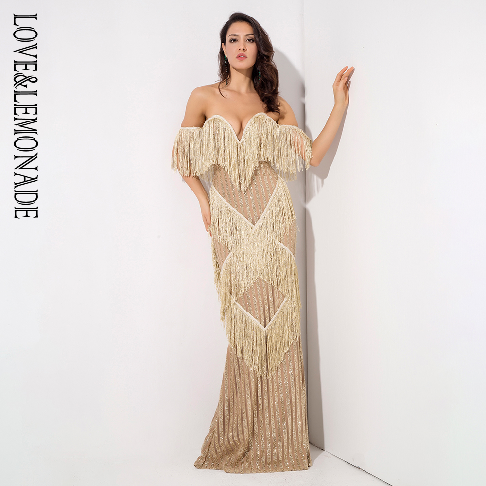 Love Lemonade Deep V Neck Gold Fringed Decorative Stripes Glitter Long Dress LM1316