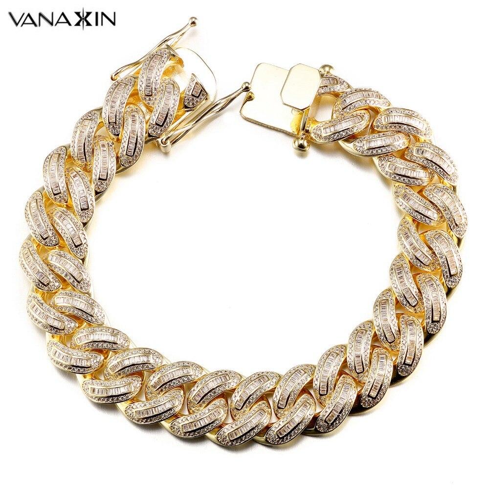 VANAXIN Mens Bracelets Chain Brass Cubic Zirconia Silver Color Male Bracelets Cuba Chain Wholesale Vintage Punk