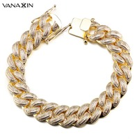 VANAXIN Mens Bracelets Chain Brass Cubic Zirconia Silver Color Male Bracelets Cuba Chain Wholesale Vintage Punk Jewelry Gift Box