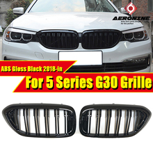G30 Grill Auto Car Front Bumper Grille For BMW 5 Series 520i 530i 540i Double 2 Line Slats ABS Gloss Black Kidney Grille 2018-in цена