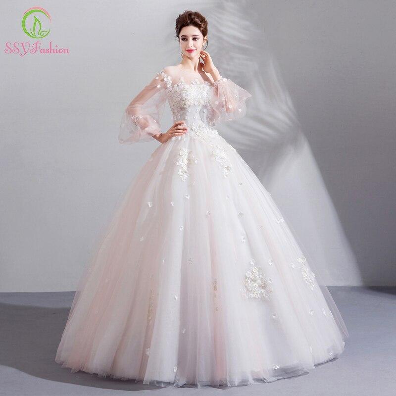Ssyfashion Long Sleeve Wedding Dresses The Bride Elegant: SSYFashion New Wedding Dress The Bride Sweet White Lace