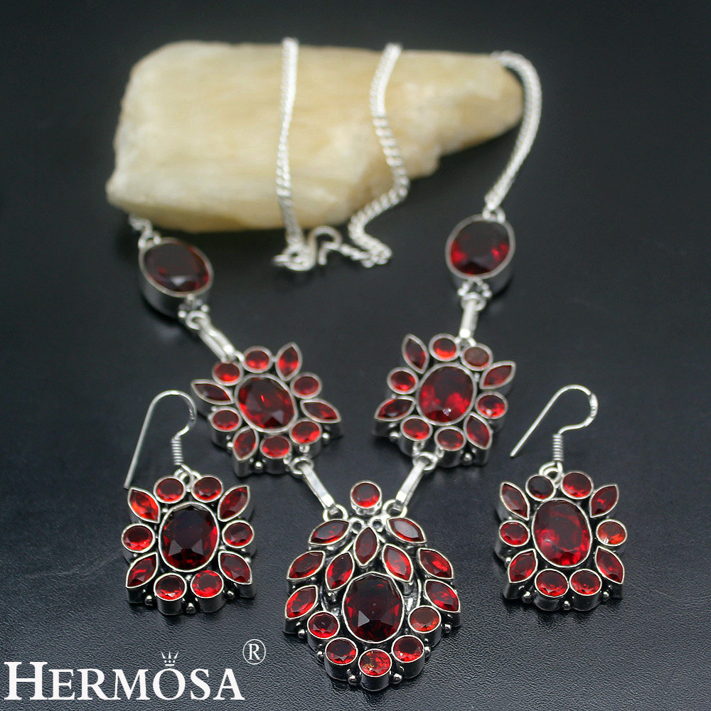 Mozambique Red Garnet Womens Jewelry Set 925 Sterling Silver Necklace Earrings Sets NY461 Latest Charms Party Beauty Gift