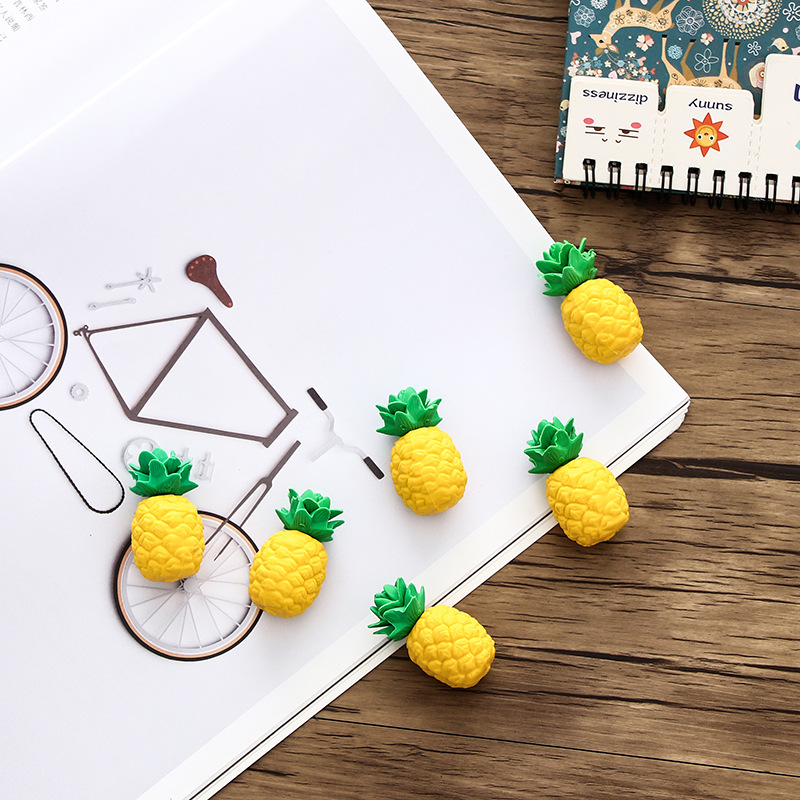 4pcs Creativity Pineapple Eraser Rubber Cartoon Fruit Pencil Eraser Student Prizes Kawaii Stationery School Supplies Papelaria