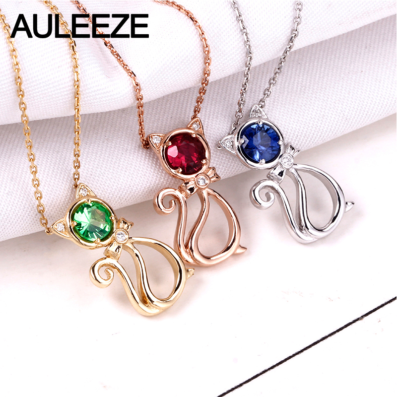 AULEEZE Cute Cat Natural Ruby Sapphire Tsavorite Gemstone Pendant For Women 18K 750 Rose Gold Real Diamond Necklace Fine Jewelry