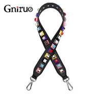 High Quality Female Handles Strap Colorful Rivet Genuine Leather Shoulder Strap Accessories For Handbags Bag