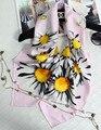 100% Шелк Цветок Ромашка Напечатаны Женщины Зимние Шарфы 90 Х 90 СМ Большой Площади Платок Люксовый Бренд Бандана Теплые Écharpe хиджаб S7