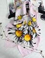 100% Flor de La Margarita de Seda Impresa de Las Mujeres Invierno Bufandas 90X90 CM Cuadrado Grande Pañuelo de Lujo Marca Echarpe Bandana Caliente Hijab S7