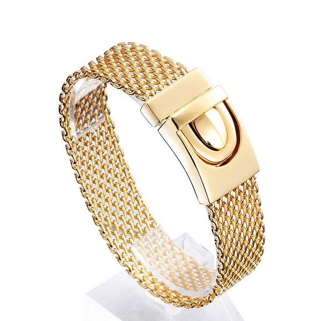 Mens gold fashion titanium steel bracelet jewelry europe punk mesh