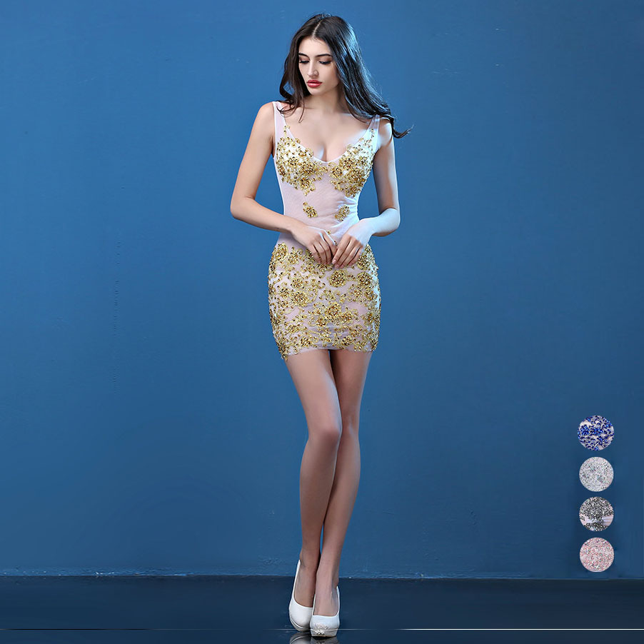 Handmade Summer Sexy Party Dress 2017 Women Diamonds Perspective ...