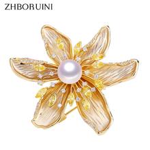 ZHBORUINI 2019 High Quality Natural Freshwater Pearl Brooch Fine Zircon Matte Light Jewelry For Women Not Fade Gift