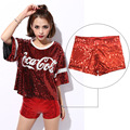 Women Elastic High Waist Sequins Booty Shorts Silver Black Gold Red DS Hip Hop Jazz Sparke Clubbing Club Performance Costume