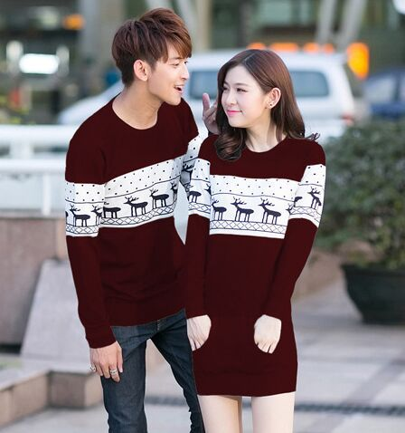 a7f1620e48 Couples Lovers Sweaters Christmas Cute Deer Hot Sale Men Women Fashion  Autumn Spring Winter Korean Matching Clothes