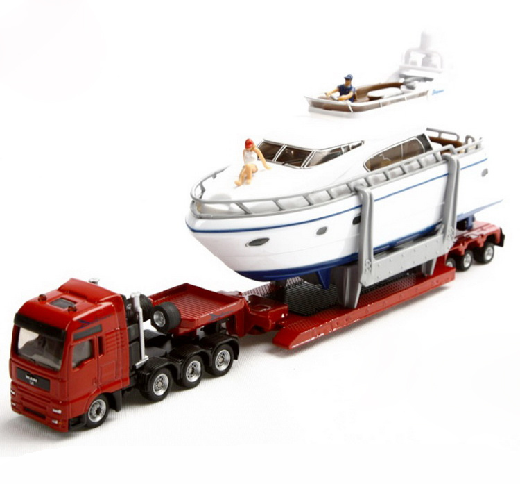 SIKU 1849 heavy haulage transporter with yacht 1 87 alloy metal model car toy collection