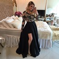 New Arrival Two Pieces Prom Dress 2017 V-Neck Sexy Side Slit Crystal Hand Beading Long Formal Dress Blur Evening Party Dress