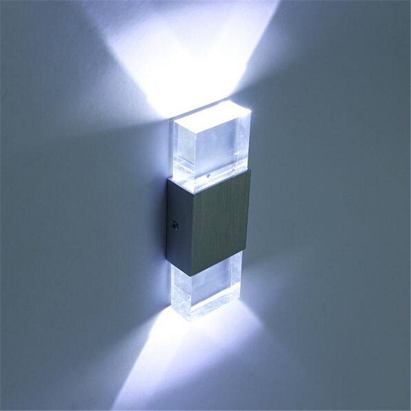 Modern 6W Led Wall Light Bathroom High Quality Aluminum Case Acrylic Crystal Lamp