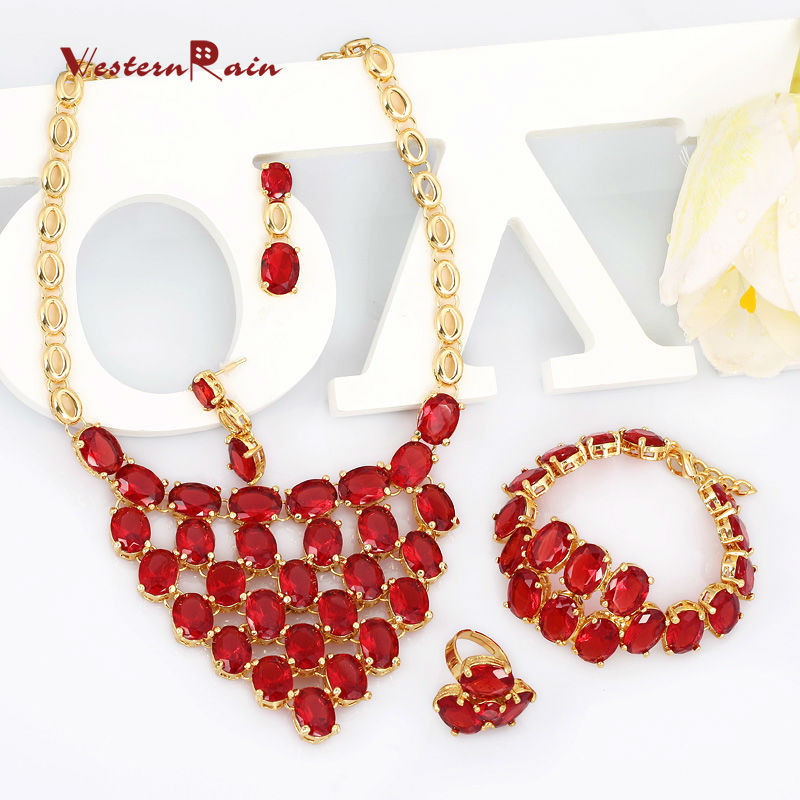 Hot Red Color Full Imitation Stone Necklace Costume Jewelry Sets