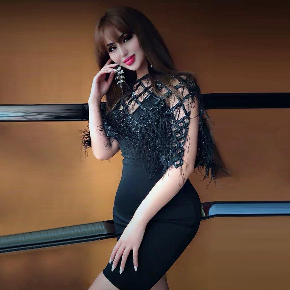 ADYCE новое летнее черное Бандажное платье с блестками женское сексуальное платье с коротким рукавом с перьями кружевное Клубное платье знам...