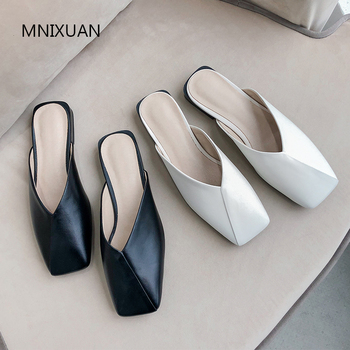 MNIXUAN High quality women pumps low heel 2019 spring summer new europe fashion leather square toe shallow mules shoes big size