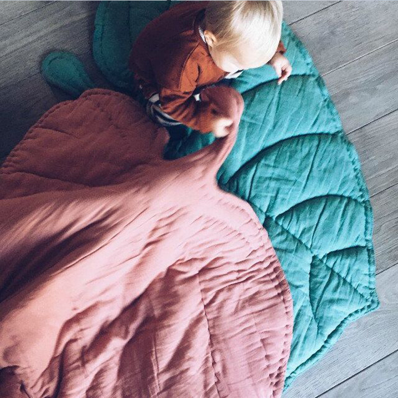 Ins Heart Leaf Baby Play Game Mats Kids Crawling Rug Blanket Cotton Newborn Baby Crawl Carpet Children Room Decoration 2 Colors