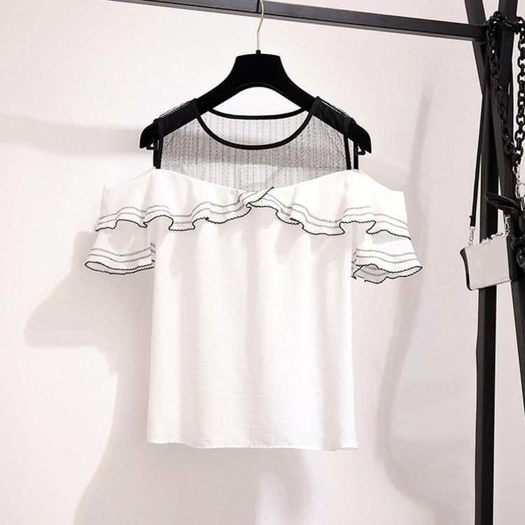 Summer Asymmetrical Denim Skirts Set Women Patchwork Mesh Sweet Suits Off Shoulder Ruffles Shirts Two Piece Sets