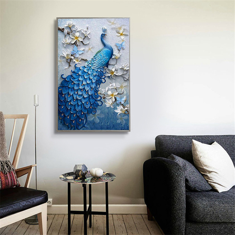 5D DIY Diamond Painting Cross Stitch Diamond Embroidery Peacock Birds & Flower Picture Of Full Round Mosaic Sale Home Wall Decor