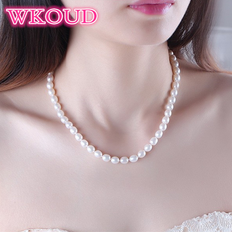 Genuine top Pearl Jewelry AAAA Natural Freshwater Pearl 6 7mm Rice 925 sterling silver Jewelry Choker Necklace For Women